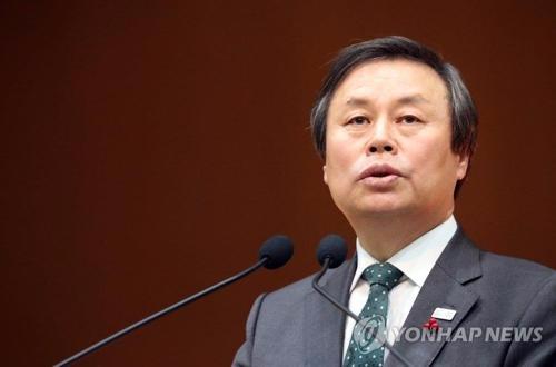 1月2日,在韩国政府世宗办公大楼,文体部长官都钟焕致新年贺词。(韩联社)